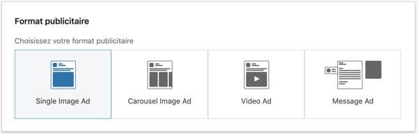 Format publicitaire linkedin ads