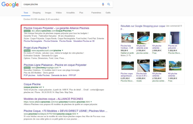 Liens sponsorisés Google