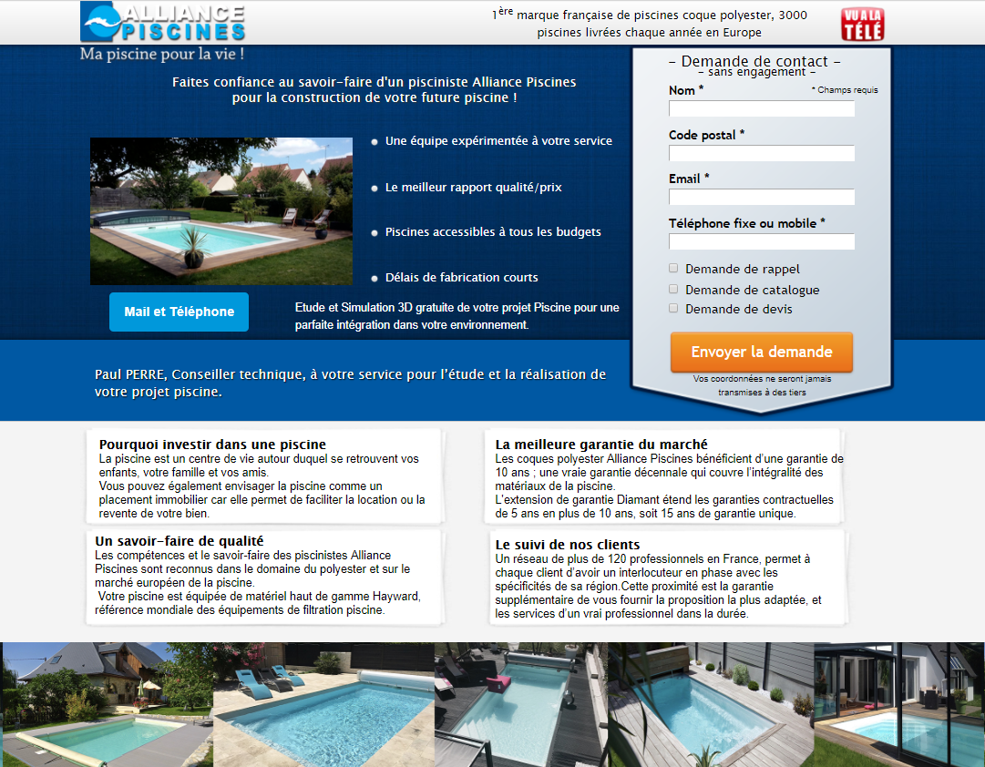 landing page Alliance Piscines