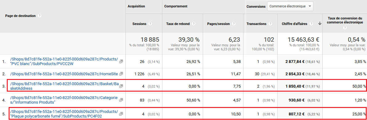 Analyse Performances Pages Analytics