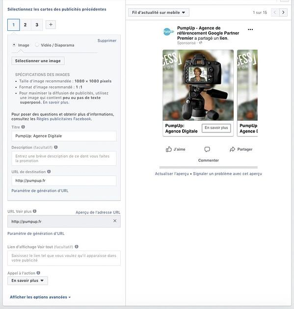 Détail Paramétrer Facebook Ads