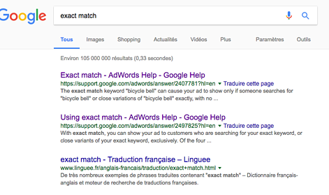 Exact Match évolue sur Google Adwords