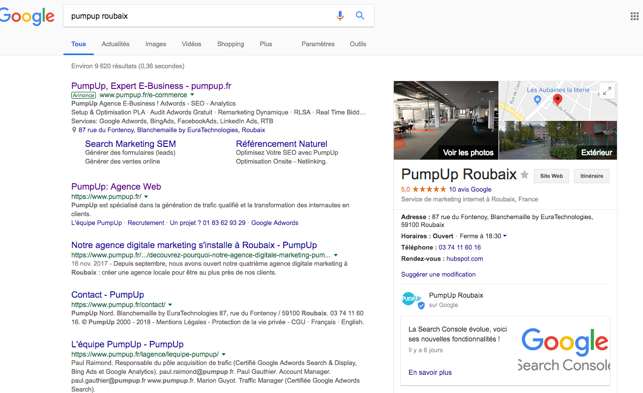 Google My Business - PumpUp Roubaix