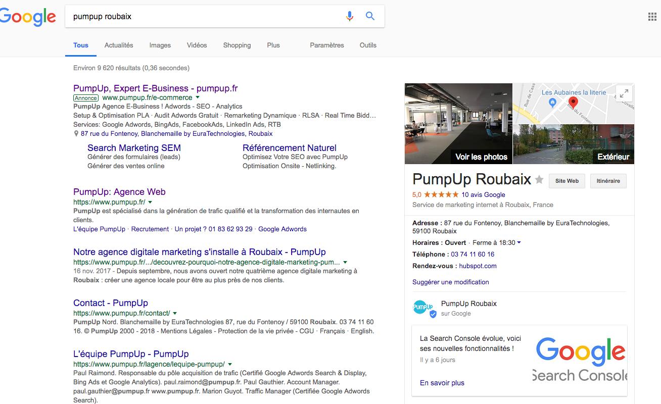 Google My Business - PumpUp Roubaix