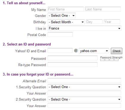Formulaire divisé en sous-parties sur Yahoo