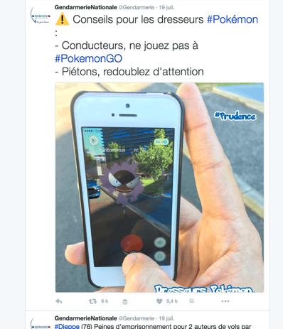 message Twitter Pokemon GO gendarmerie
