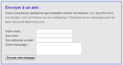 Programme envoyez à un ami sur micimmo.com