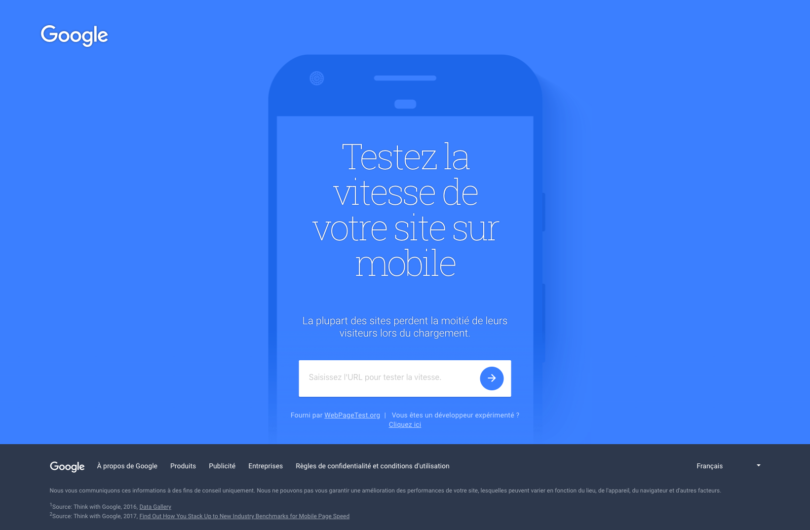 Outil vitesse Test My SIte Google