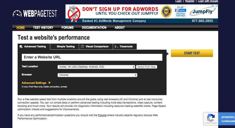 Aperçu Web Page Test