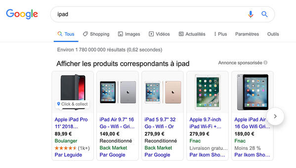 google shopping exemple ipad