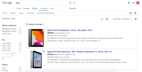 google shopping onglet exemple